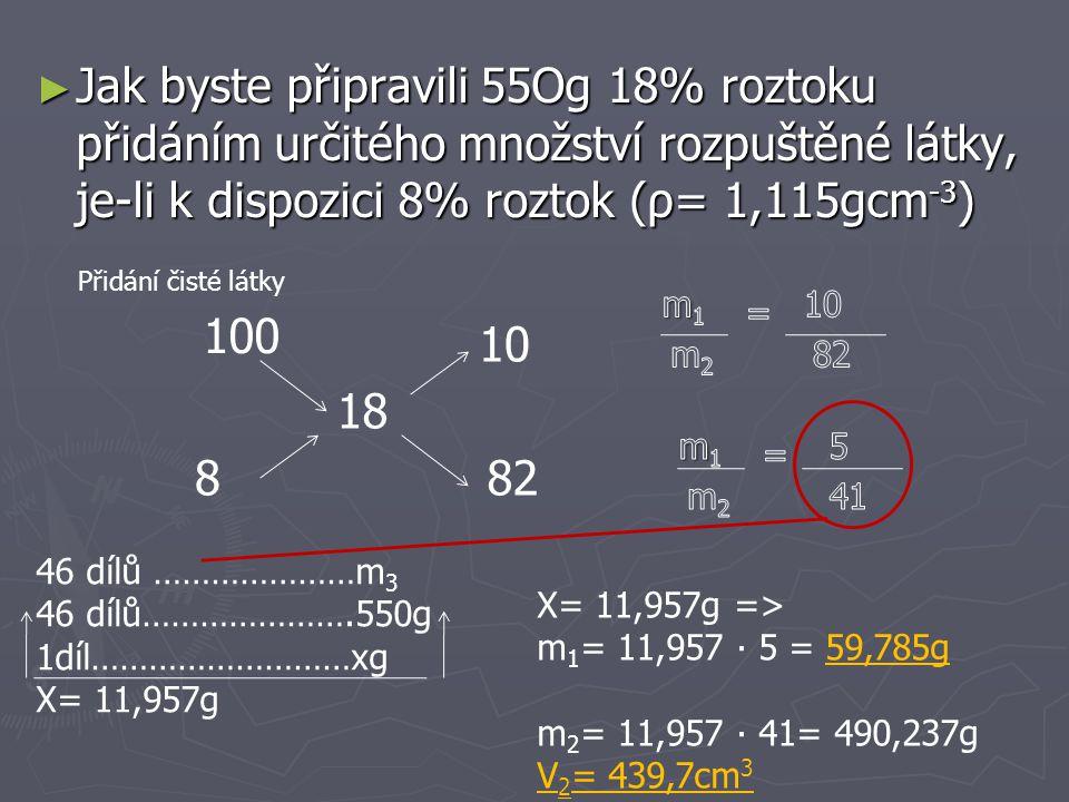 ► Jaký bude hmotnostní zlomek 300g roztoku 30%ního, přidáme-li k němu 50g soli.