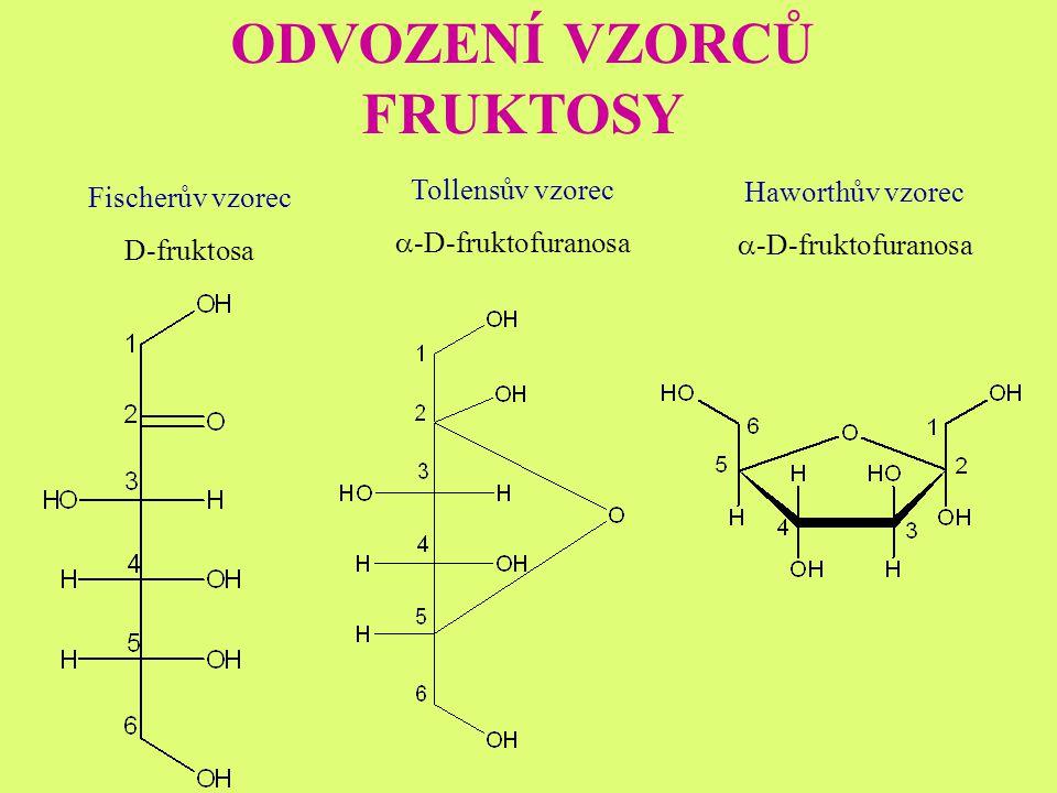 ODVOZENÍ VZORCŮ FRUKTOSY Fischerův vzorec D-fruktosa Tollensův vzorec  -D-fruktofuranosa Haworthův vzorec  -D-fruktofuranosa