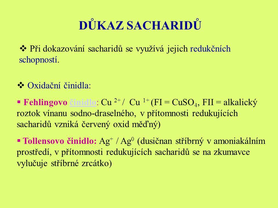 DŮKAZ SACHARIDŮ  Při dokazování sacharidů se využívá jejich redukčních schopností.
