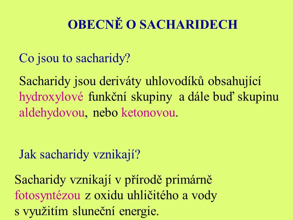 OBECNĚ O SACHARIDECH Co jsou to sacharidy.
