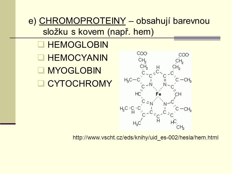 e) CHROMOPROTEINY – obsahují barevnou složku s kovem (např. hem)  HEMOGLOBIN  HEMOCYANIN  MYOGLOBIN  CYTOCHROMY http://www.vscht.cz/eds/knihy/uid_