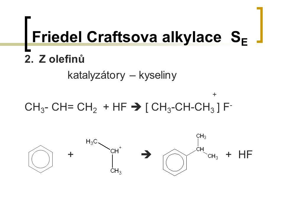 Friedel Craftsova alkylace S E 2.Z olefinů katalyzátory – kyseliny + CH 3 - CH= CH 2 + HF  [ CH 3 -CH-CH 3 ] F - +  + HF