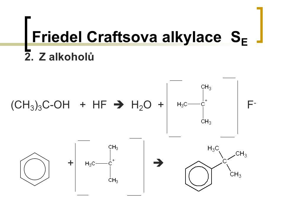 Friedel Craftsova alkylace S E 2.Z alkoholů (CH 3 ) 3 C-OH + HF  H 2 O + F - + 