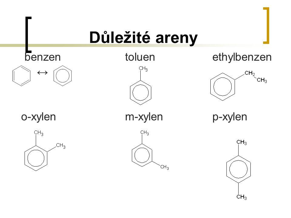 Důležité areny benzentoluenethylbenzen ↔ o-xylenm-xylenp-xylen