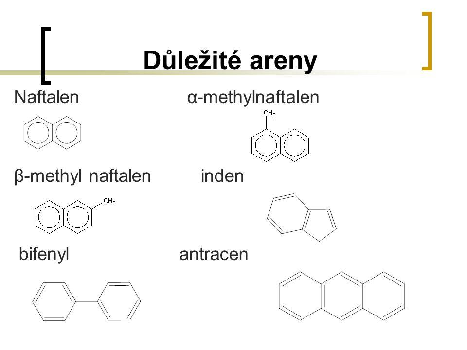 Důležité areny Naftalen α-methylnaftalen β-methyl naftaleninden bifenyl antracen