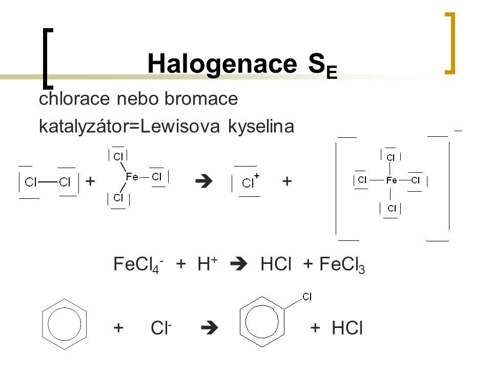 Halogenace S E chlorace nebo bromace katalyzátor=Lewisova kyselina +  + FeCl 4 - + H +  HCl + FeCl 3 + Cl -  + HCl