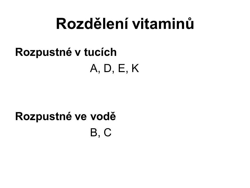 Rozdělení vitaminů Rozpustné v tucích A, D, E, K Rozpustné ve vodě B, C