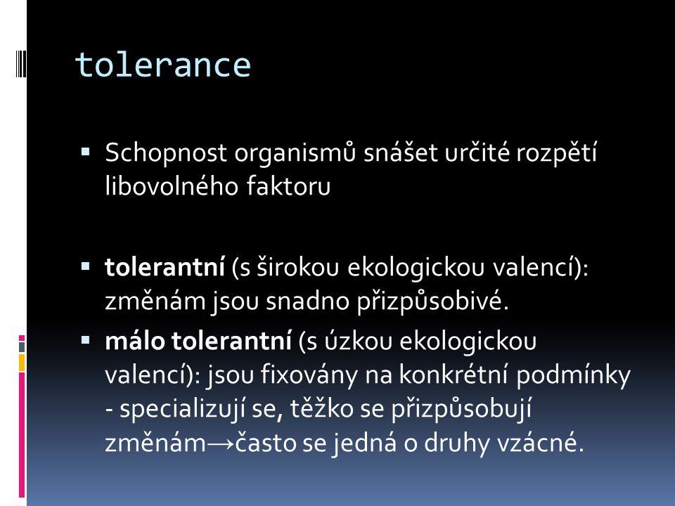 tolerance  Schopnost organismů snášet určité rozpětí libovolného faktoru  tolerantní (s širokou ekologickou valencí): změnám jsou snadno přizpůsobiv