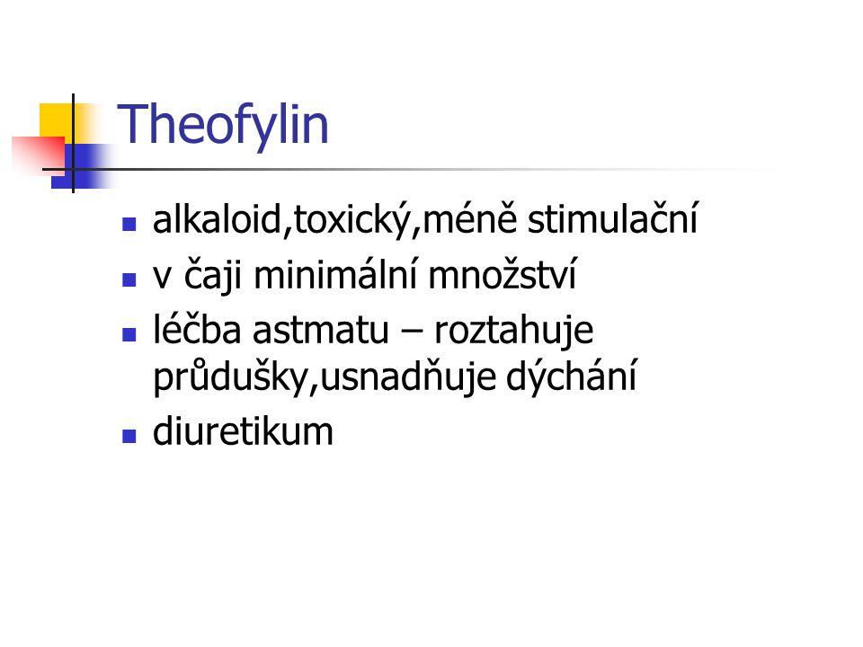 Theobromin alkaloid účinky jako kofein,ale slabší v kakaových bobech,čaji diuretikum