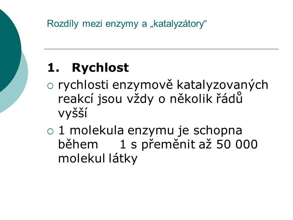 """Rozdíly mezi enzymy a """"katalyzátory"""" 1. Rychlost  rychlosti enzymově katalyzovaných reakcí jsou vždy o několik řádů vyšší  1 molekula enzymu je scho"""