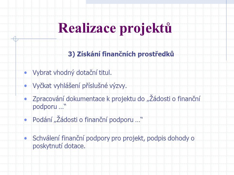 Realizace projektů 3) Získání finančních prostředků Vybrat vhodný dotační titul.