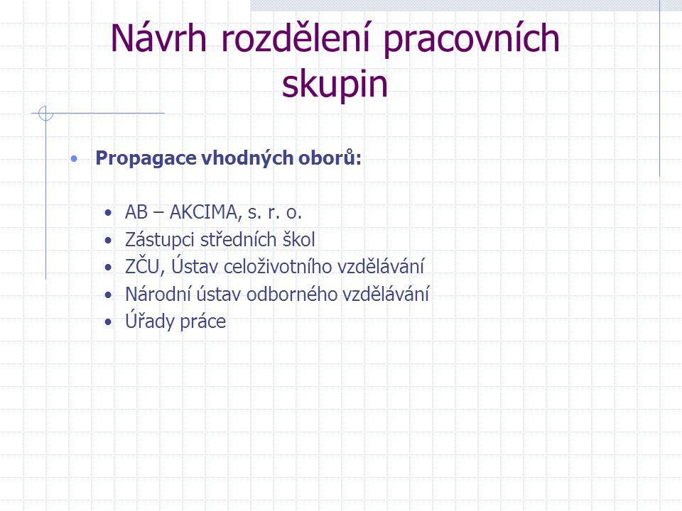 Návrh rozdělení pracovních skupin Propagace vhodných oborů: AB – AKCIMA, s.