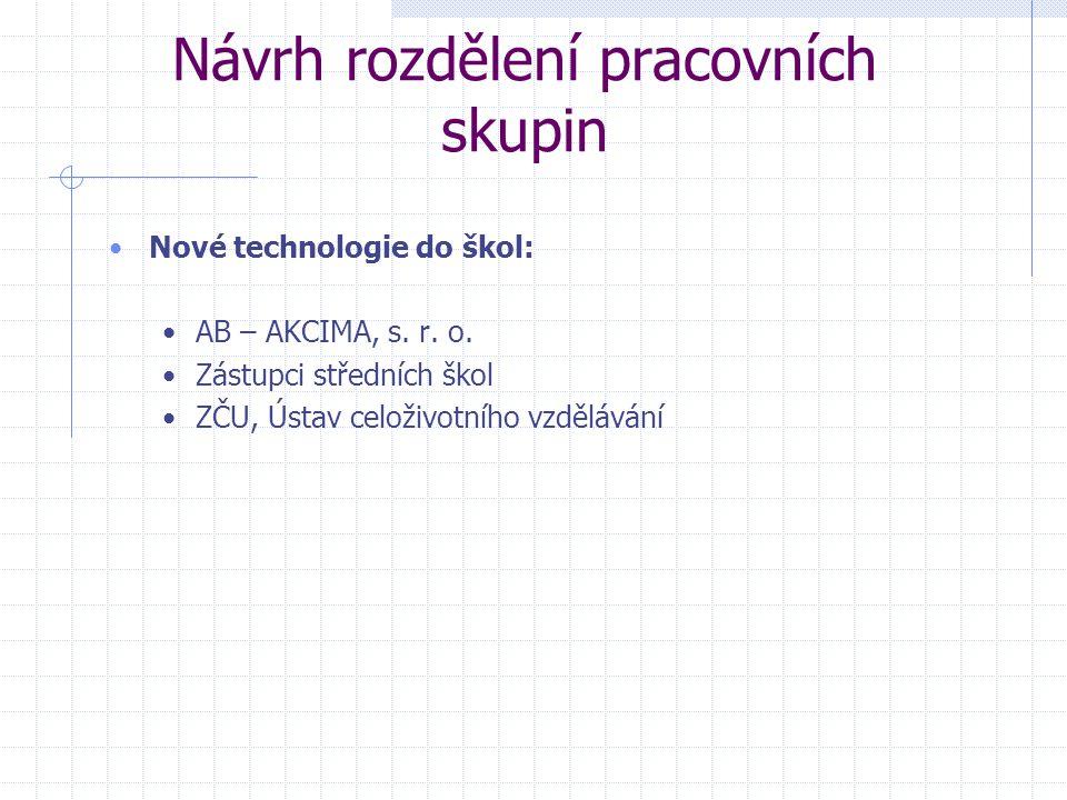 Návrh rozdělení pracovních skupin Nové technologie do škol: AB – AKCIMA, s.
