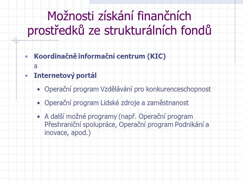 Možnosti získání finančních prostředků ze strukturálních fondů Koordinačně informační centrum (KIC) a Internetový portál Operační program Vzdělávání pro konkurenceschopnost Operační program Lidské zdroje a zaměstnanost A další možné programy (např.