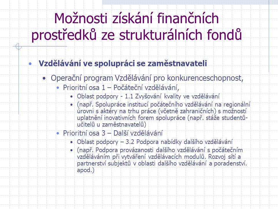 Možnosti získání finančních prostředků ze strukturálních fondů Vzdělávání ve spolupráci se zaměstnavateli Operační program Vzdělávání pro konkurenceschopnost, Prioritní osa 1 – Počáteční vzdělávání, Oblast podpory - 1.1 Zvyšování kvality ve vzdělávání (např.