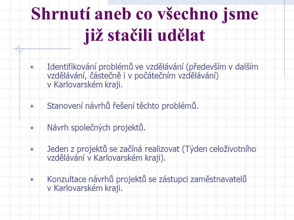 Shrnutí aneb co všechno jsme již stačili udělat Identifikování problémů ve vzdělávání (především v dalším vzdělávání, částečně i v počátečním vzdělávání) v Karlovarském kraji.