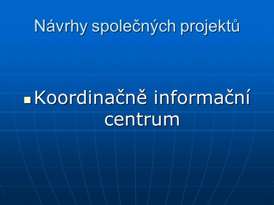 Návrhy společných projektů Koordinačně informační centrum Koordinačně informační centrum