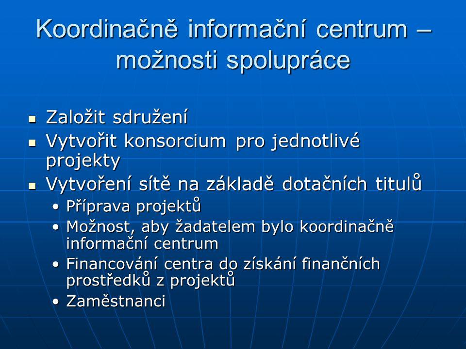 Koordinačně informační centrum – možnosti spolupráce Založit sdružení Založit sdružení Vytvořit konsorcium pro jednotlivé projekty Vytvořit konsorcium pro jednotlivé projekty Vytvoření sítě na základě dotačních titulů Vytvoření sítě na základě dotačních titulů Příprava projektůPříprava projektů Možnost, aby žadatelem bylo koordinačně informační centrumMožnost, aby žadatelem bylo koordinačně informační centrum Financování centra do získání finančních prostředků z projektůFinancování centra do získání finančních prostředků z projektů ZaměstnanciZaměstnanci