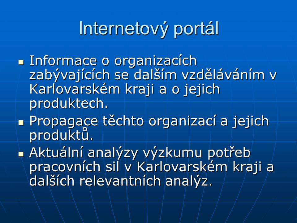 Internetový portál Informace o organizacích zabývajících se dalším vzděláváním v Karlovarském kraji a o jejich produktech.