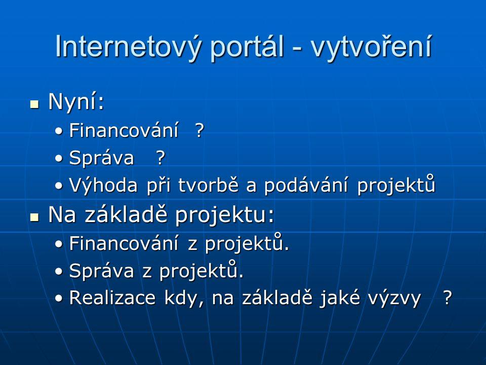 Internetový portál - vytvoření Nyní: Nyní: Financování ?Financování .