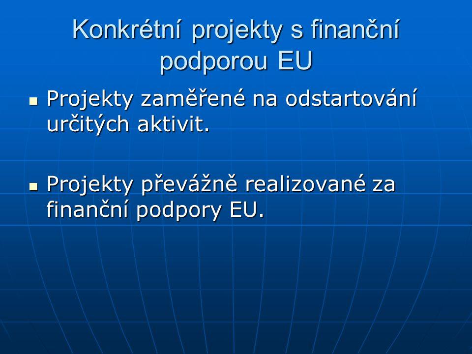 Konkrétní projekty s finanční podporou EU Projekty zaměřené na odstartování určitých aktivit.