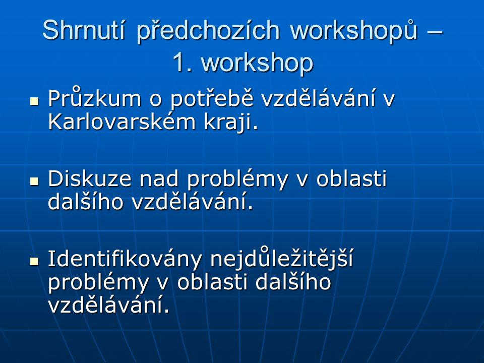 Shrnutí předchozích workshopů – 1. workshop Průzkum o potřebě vzdělávání v Karlovarském kraji.