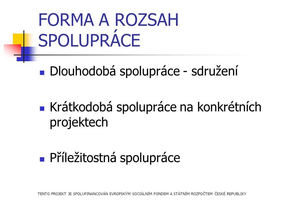 FORMA A ROZSAH SPOLUPRÁCE Dlouhodobá spolupráce - sdružení Krátkodobá spolupráce na konkrétních projektech Příležitostná spolupráce TENTO PROJEKT JE S