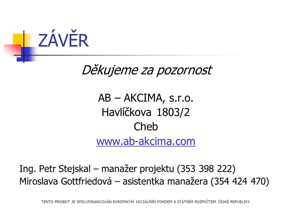 ZÁVĚR Děkujeme za pozornost AB – AKCIMA, s.r.o. Havlíčkova 1803/2 Cheb www.ab-akcima.com Ing. Petr Stejskal – manažer projektu (353 398 222) Miroslava