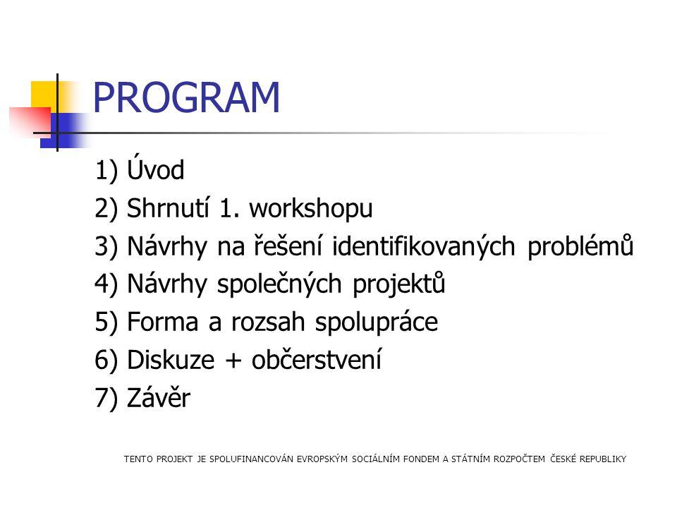 PROGRAM 1) Úvod 2) Shrnutí 1. workshopu 3) Návrhy na řešení identifikovaných problémů 4) Návrhy společných projektů 5) Forma a rozsah spolupráce 6) Di