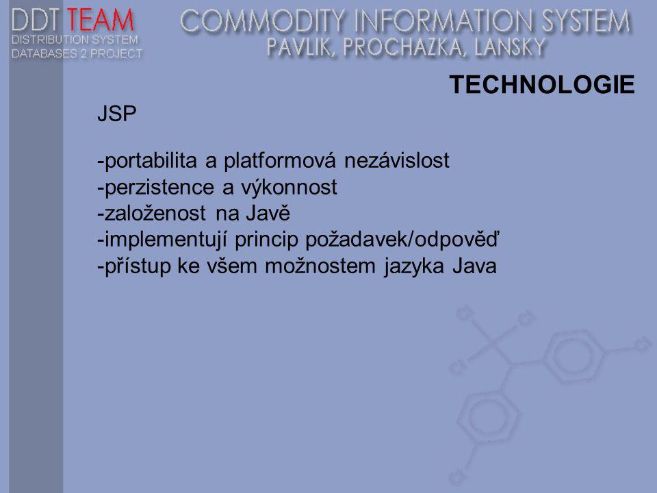 TECHNOLOGIE JSP -portabilita a platformová nezávislost -perzistence a výkonnost -založenost na Javě -implementují princip požadavek/odpověď -přístup ke všem možnostem jazyka Java
