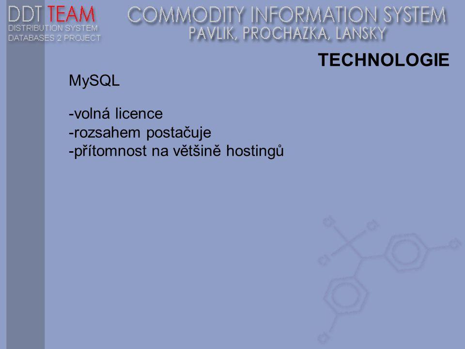 TECHNOLOGIE MySQL -volná licence -rozsahem postačuje -přítomnost na většině hostingů