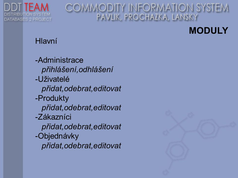 MODULY Hlavní -Administrace přihlášení,odhlášení -Uživatelé přidat,odebrat,editovat -Produkty přidat,odebrat,editovat -Zákazníci přidat,odebrat,editovat -Objednávky přidat,odebrat,editovat