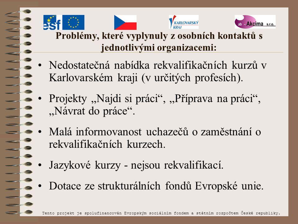 Problémy, které vyplynuly z osobních kontaktů s jednotlivými organizacemi: Nedostatečná nabídka rekvalifikačních kurzů v Karlovarském kraji (v určitýc