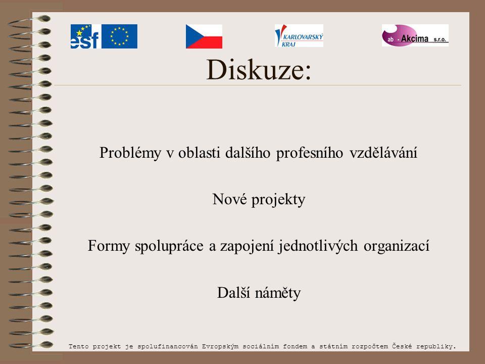 Diskuze: Problémy v oblasti dalšího profesního vzdělávání Nové projekty Formy spolupráce a zapojení jednotlivých organizací Další náměty Tento projekt je spolufinancován Evropským sociálním fondem a státním rozpočtem České republiky.