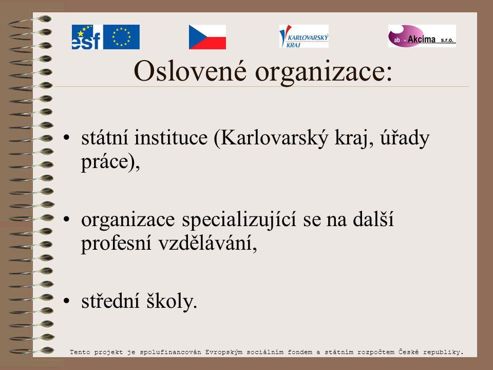 Oslovené organizace: státní instituce (Karlovarský kraj, úřady práce), organizace specializující se na další profesní vzdělávání, střední školy. Tento