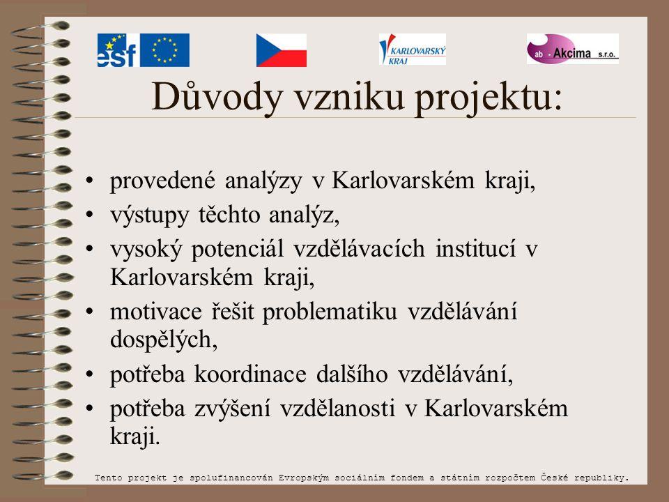 Důvody vzniku projektu: provedené analýzy v Karlovarském kraji, výstupy těchto analýz, vysoký potenciál vzdělávacích institucí v Karlovarském kraji, m