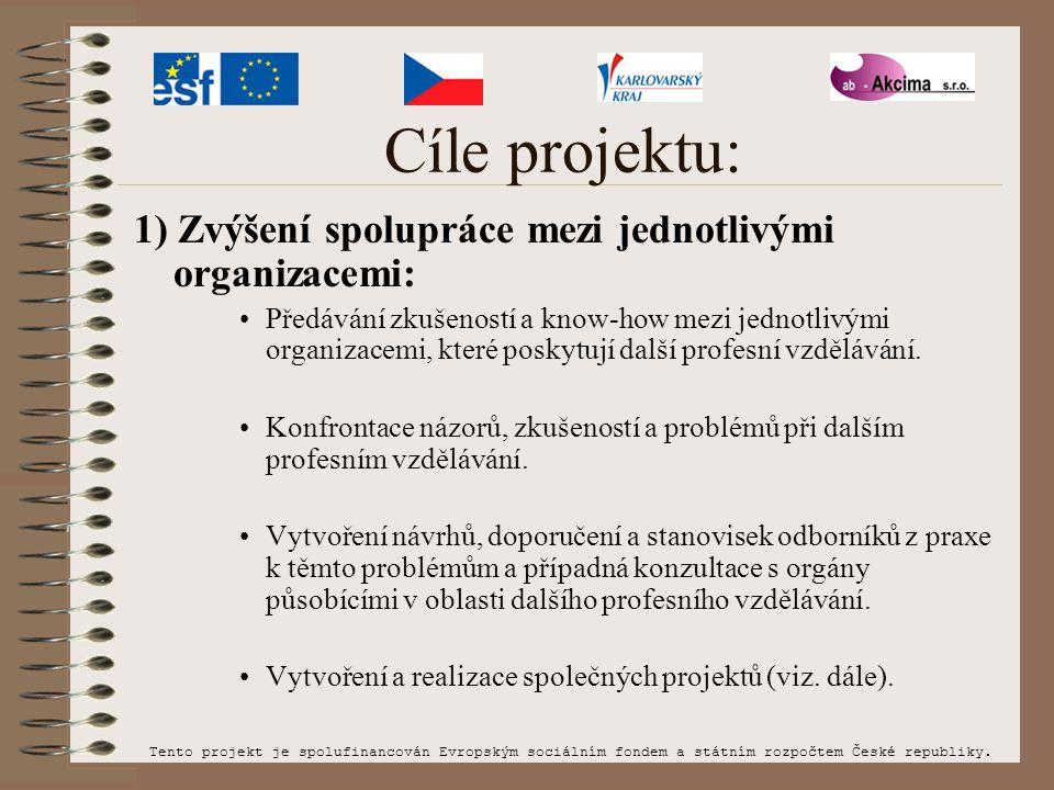 Cíle projektu: 1) Zvýšení spolupráce mezi jednotlivými organizacemi: Předávání zkušeností a know-how mezi jednotlivými organizacemi, které poskytují další profesní vzdělávání.