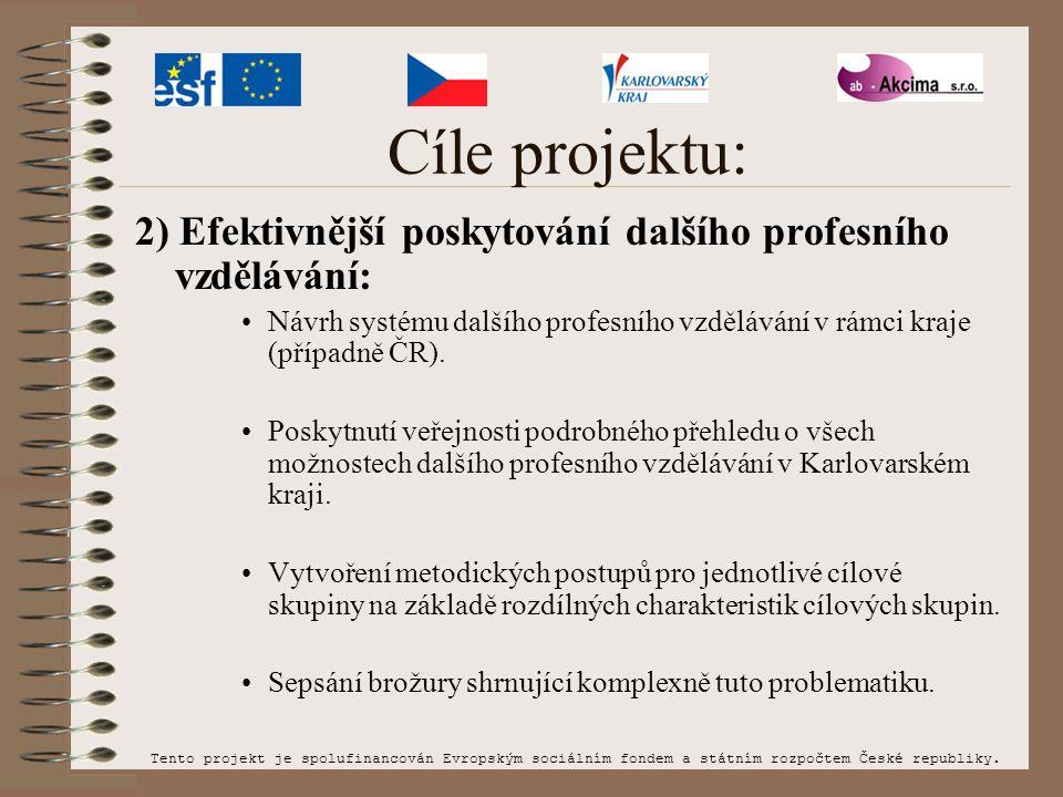 Cíle projektu: 2) Efektivnější poskytování dalšího profesního vzdělávání: Návrh systému dalšího profesního vzdělávání v rámci kraje (případně ČR). Pos