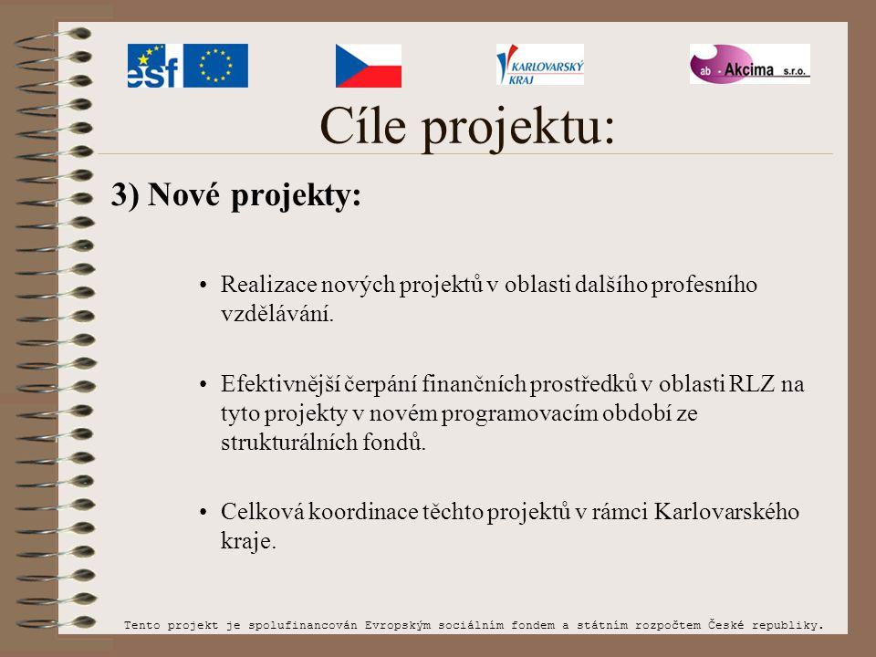 Cíle projektu: 3) Nové projekty: Realizace nových projektů v oblasti dalšího profesního vzdělávání. Efektivnější čerpání finančních prostředků v oblas