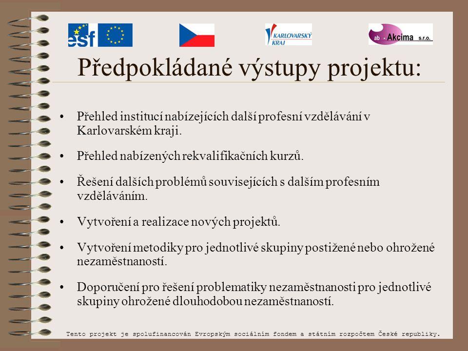 Předpokládané výstupy projektu: Přehled institucí nabízejících další profesní vzdělávání v Karlovarském kraji. Přehled nabízených rekvalifikačních kur