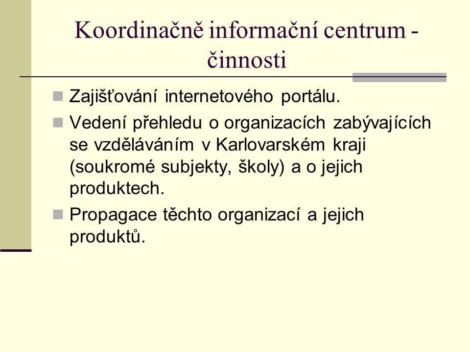 Koordinačně informační centrum - činnosti Zajišťování internetového portálu. Vedení přehledu o organizacích zabývajících se vzděláváním v Karlovarském