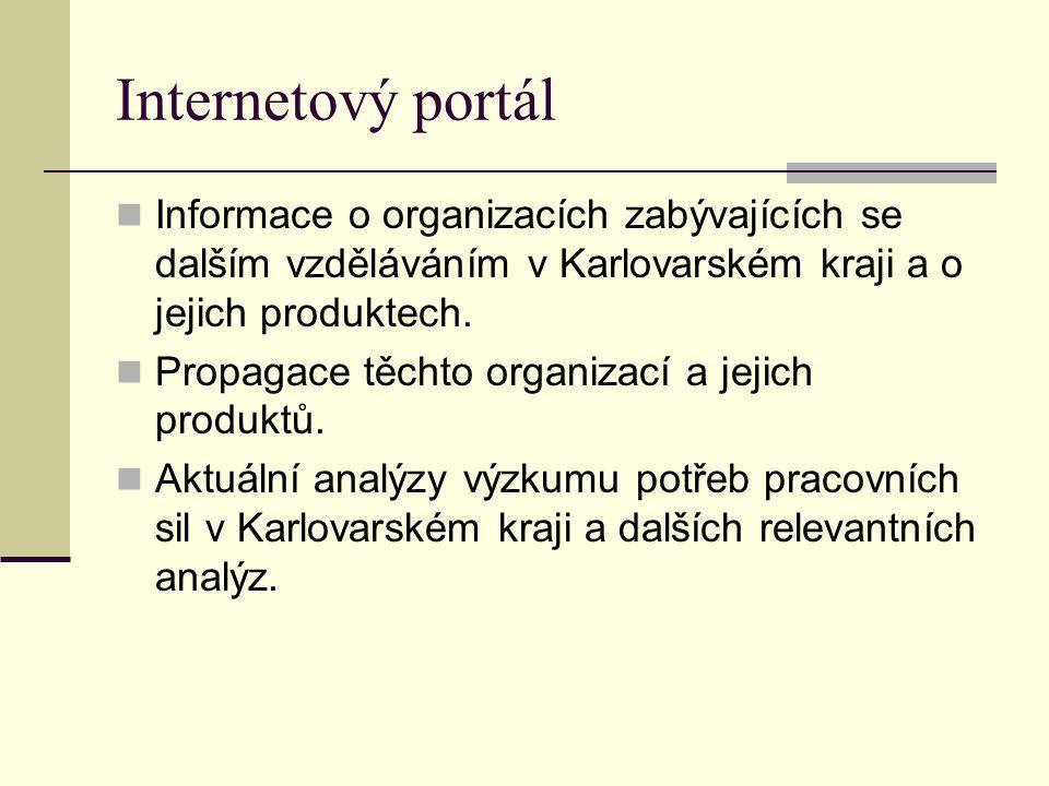 Informace o organizacích zabývajících se dalším vzděláváním v Karlovarském kraji a o jejich produktech. Propagace těchto organizací a jejich produktů.
