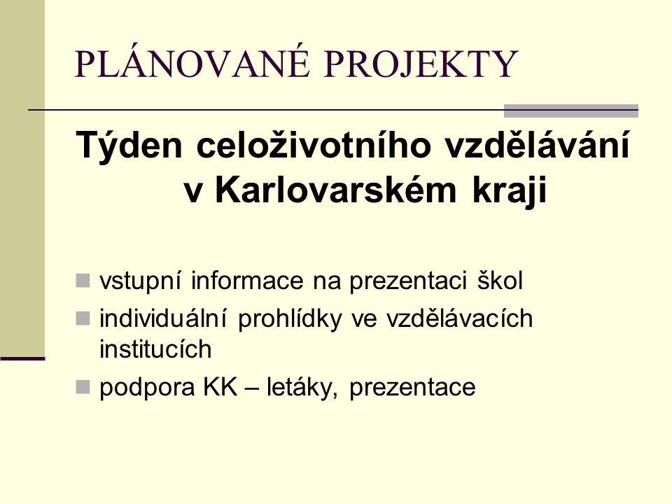 PLÁNOVANÉ PROJEKTY Týden celoživotního vzdělávání v Karlovarském kraji vstupní informace na prezentaci škol individuální prohlídky ve vzdělávacích ins