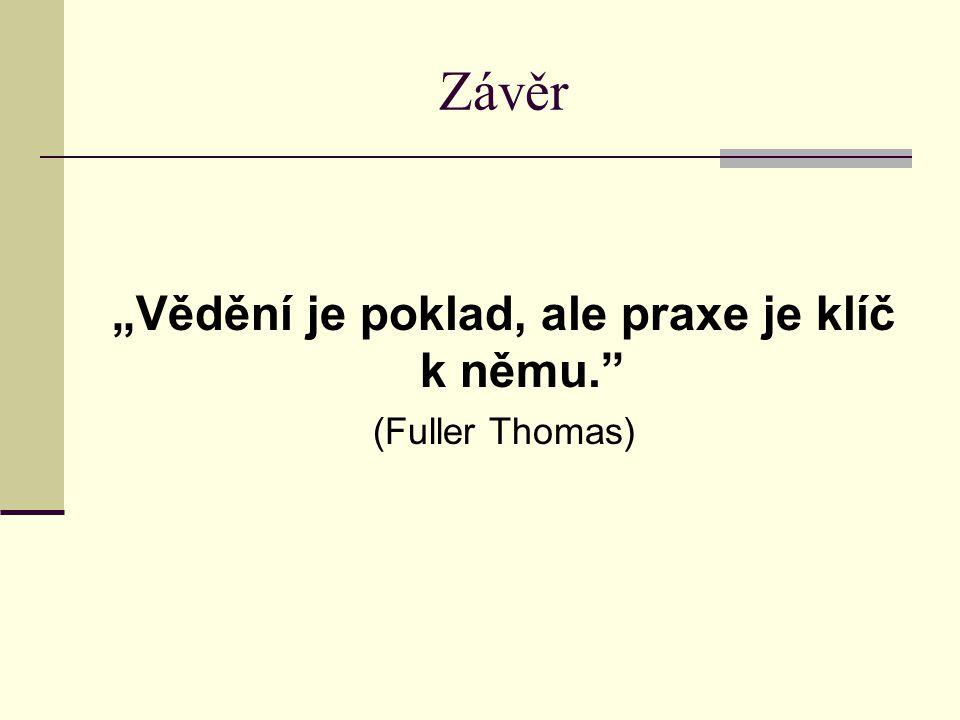 """Závěr """"Vědění je poklad, ale praxe je klíč k němu."""" (Fuller Thomas)"""