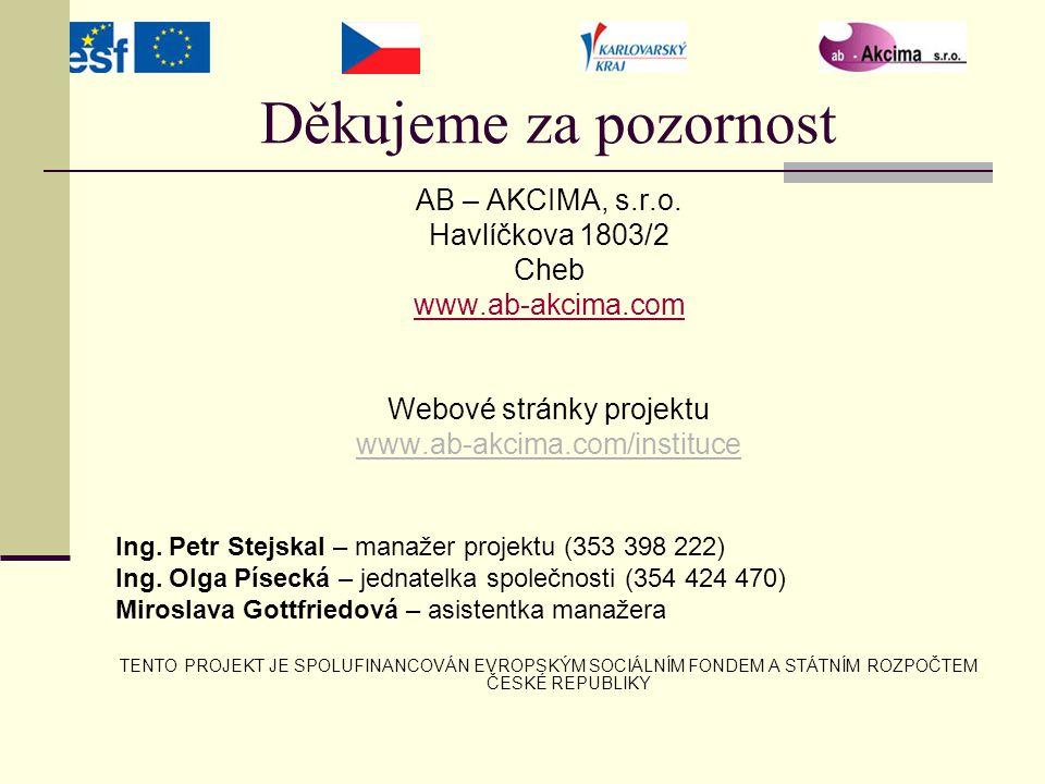 Děkujeme za pozornost AB – AKCIMA, s.r.o. Havlíčkova 1803/2 Cheb www.ab-akcima.com Webové stránky projektu www.ab-akcima.com/instituce Ing. Petr Stejs