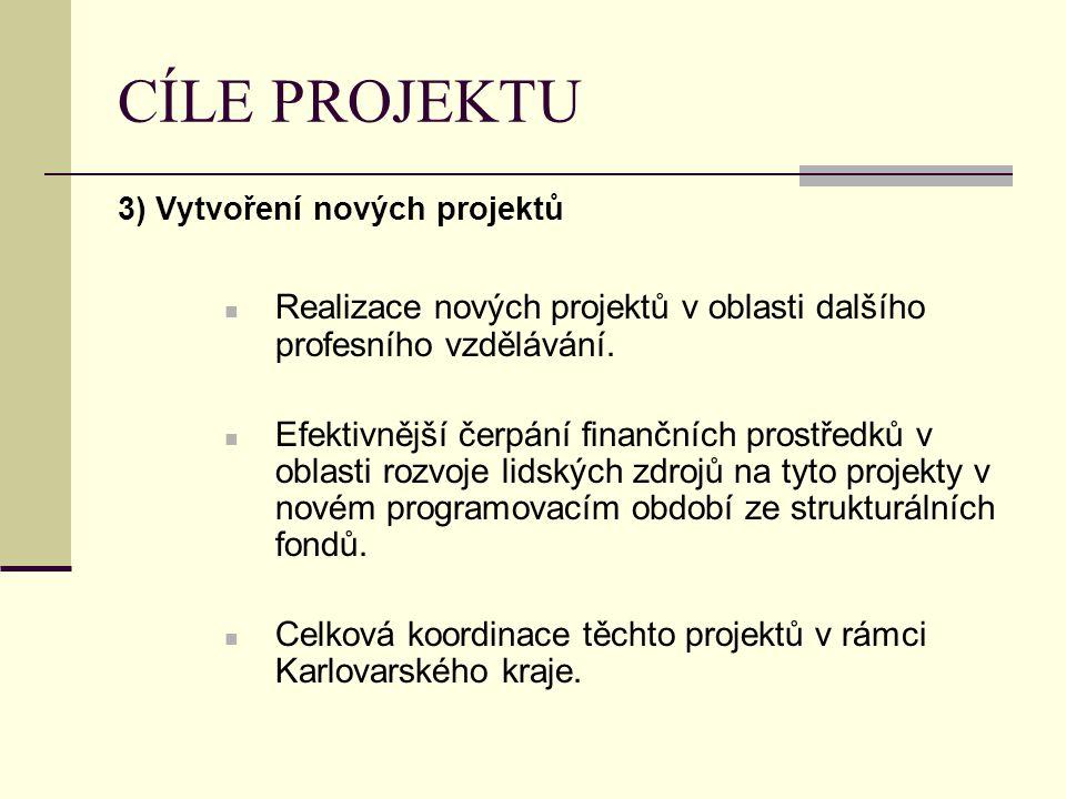 CÍLE PROJEKTU 3) Vytvoření nových projektů Realizace nových projektů v oblasti dalšího profesního vzdělávání. Efektivnější čerpání finančních prostřed