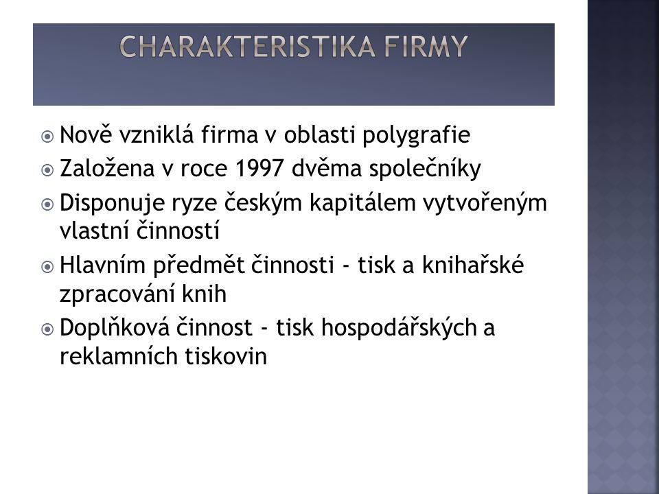  Nově vzniklá firma v oblasti polygrafie  Založena v roce 1997 dvěma společníky  Disponuje ryze českým kapitálem vytvořeným vlastní činností  Hlavním předmět činnosti - tisk a knihařské zpracování knih  Doplňková činnost - tisk hospodářských a reklamních tiskovin