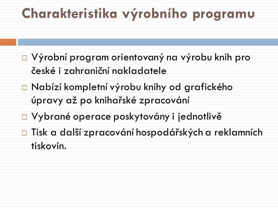 Charakteristika výrobního programu  Výrobní program orientovaný na výrobu knih pro české i zahraniční nakladatele  Nabízí kompletní výrobu knihy od grafického úpravy až po knihařské zpracování  Vybrané operace poskytovány i jednotlivě  Tisk a další zpracování hospodářských a reklamních tiskovin.