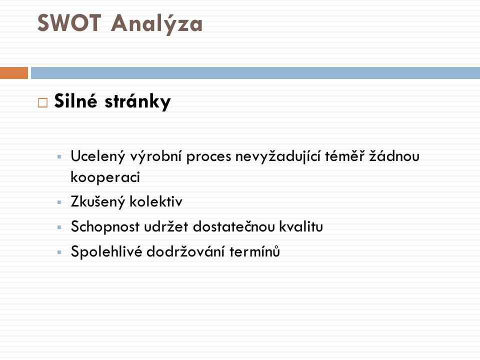 SWOT Analýza  Silné stránky  Ucelený výrobní proces nevyžadující téměř žádnou kooperaci  Zkušený kolektiv  Schopnost udržet dostatečnou kvalitu  Spolehlivé dodržování termínů