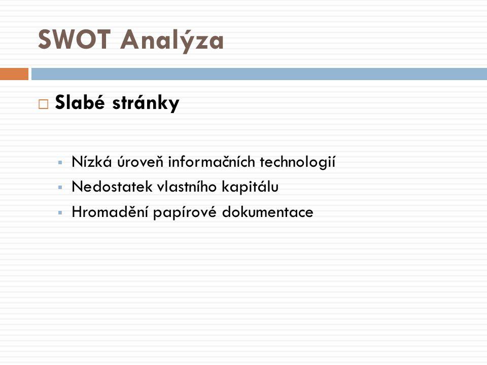 SWOT Analýza  Slabé stránky  Nízká úroveň informačních technologií  Nedostatek vlastního kapitálu  Hromadění papírové dokumentace